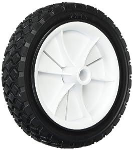 Shepherd Hardware 9611 7-Inch Semi-Pneumatic Rubber Replacement Tire, Plastic Wheel, 1-1/2-Inch Diamond Tread, 1/2-Inch Bore Offset Axle