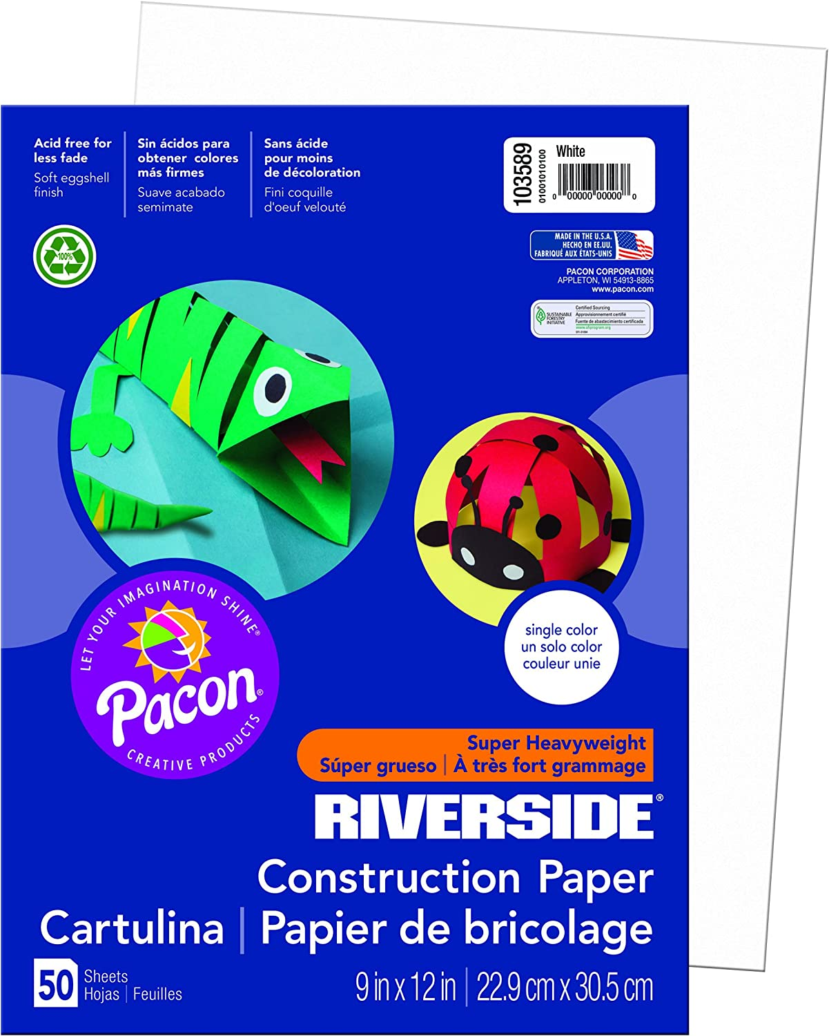 Riverside 3D Construction Paper Green 50 Sheets 9 x 12