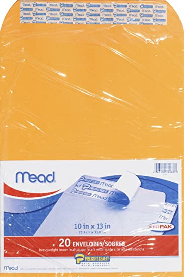 .0 2 Pack of 20 Mead Press-It Seal-It Envelopes Brown Office Pack 20 Count 76088 10 x 13 Inches