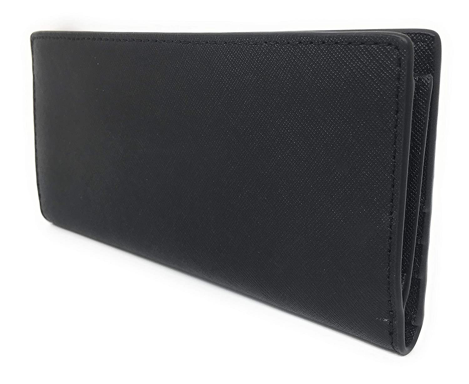 2f28d14693ab Amazon.com: Michael Kors Jet Set Travel Leather Medium Large Card Case  Carryall Wallet with Removable ID Card Holder (Black with Gold Hardware)