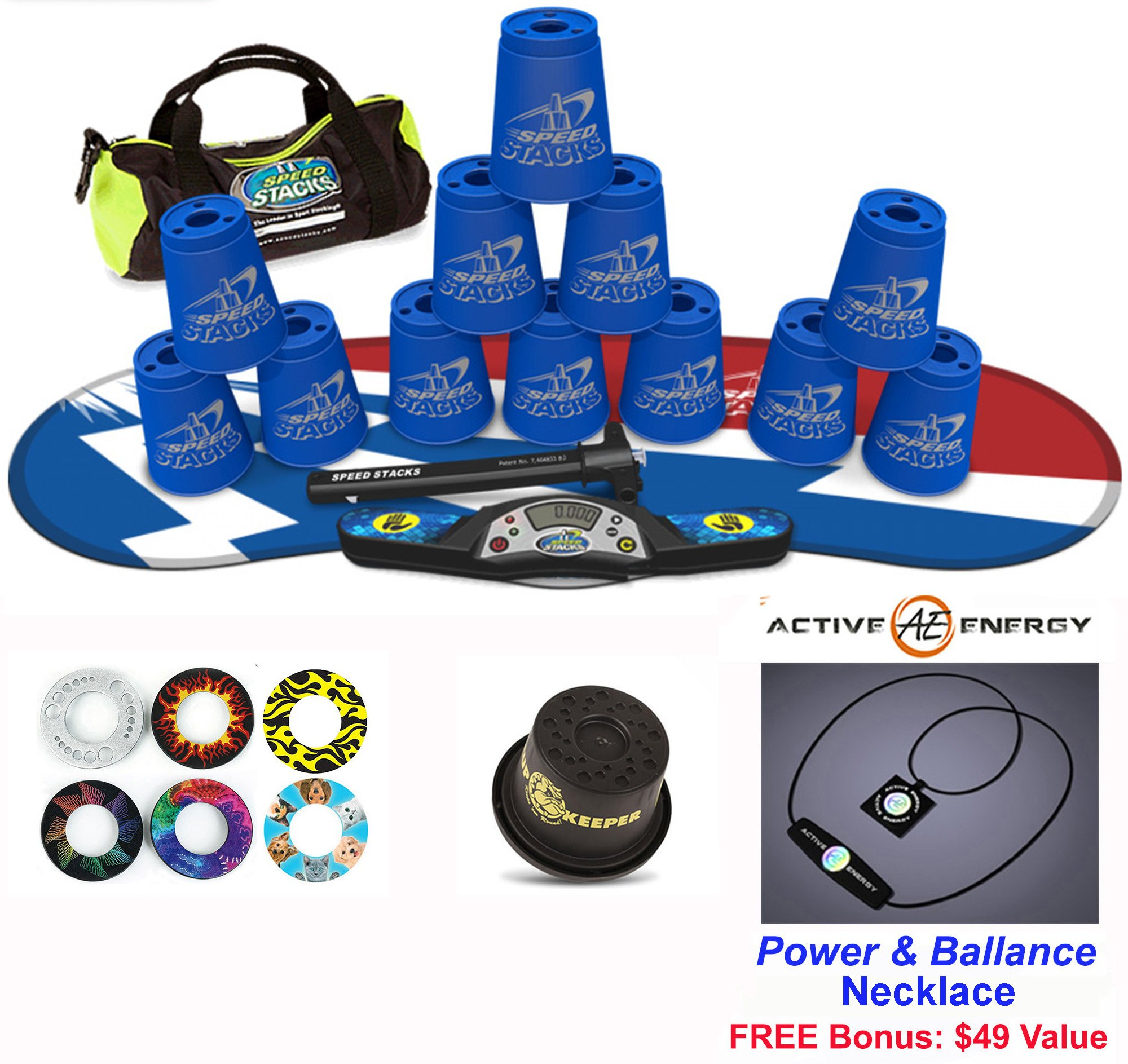 Speed Stacks Combo Set 'The Works'': 12 BLUE 4'' Cups, Atomic Punch Gen 3 Mat, G4 Pro Timer, Cup Keeper, Stem, Gear Bag + Active Energy Necklace