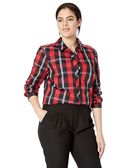 38347e02d6e Foxcroft Plus Size Womens Faith Mackenzie Tartan Plaid Tunic at Amazon  Women s Clothing store