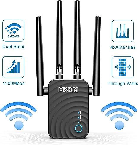 Wi-Fi Signal Booster w 4 Ethernet Antennas AC1200 Dual Band Mini WiFi Repeater