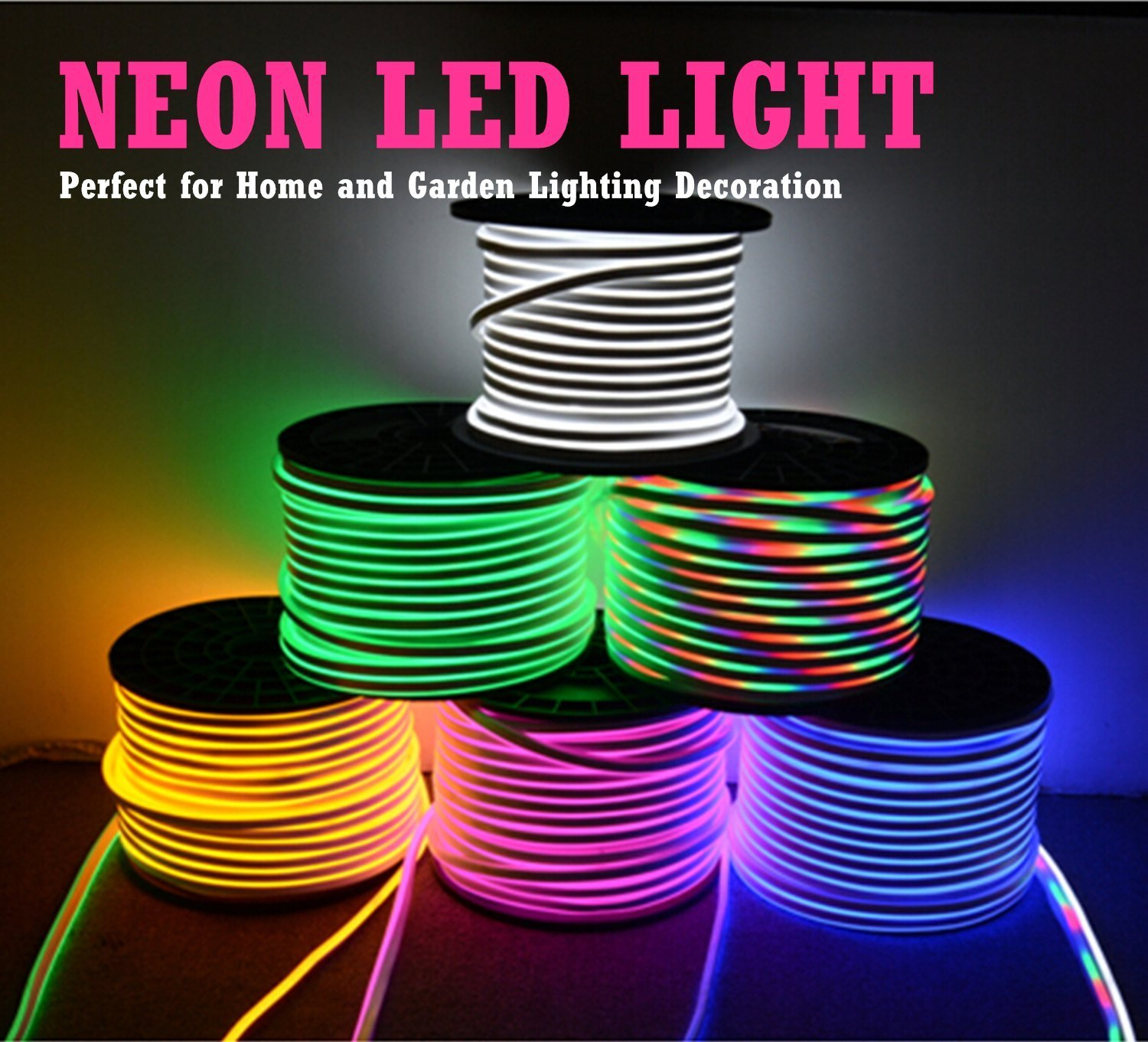 LED NEON LIGHT, IEKOV AC 110-120V Flexible RGB LED Neon Light Strip, 60 LEDs/M, Waterproof, Multi Color Changing 5050 SMD LED Rope Light + Remote Controller for Party Decoration (65.6ft/ 20m) by IEKOV (Image #4)