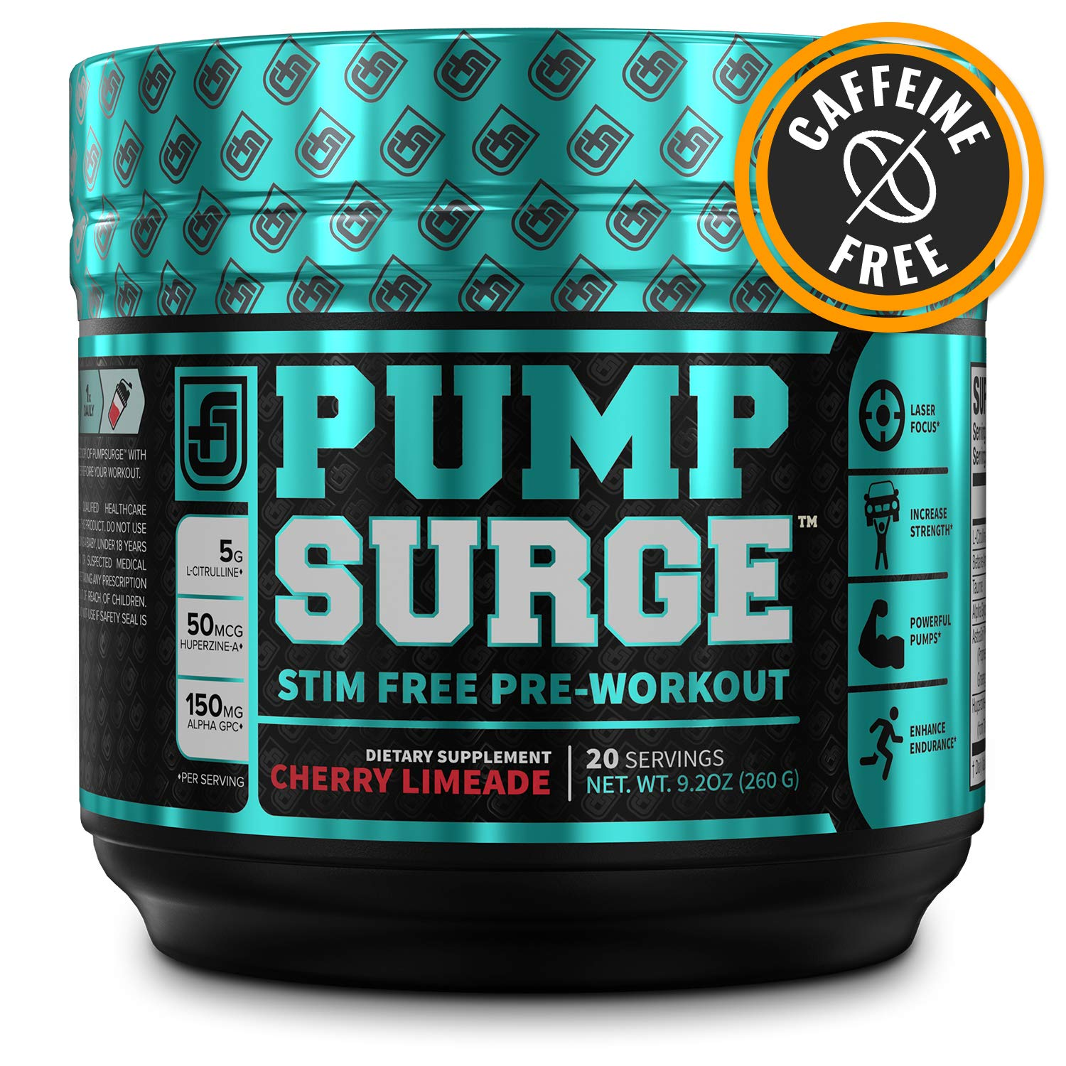 PUMPSURGE Caffeine-Free Pump Nootropic Pre Workout Supplement, Non Stimulant Preworkout Powder Nitric Oxide Booster,20 Servings, Cherry Limeade, 9.2 OZ