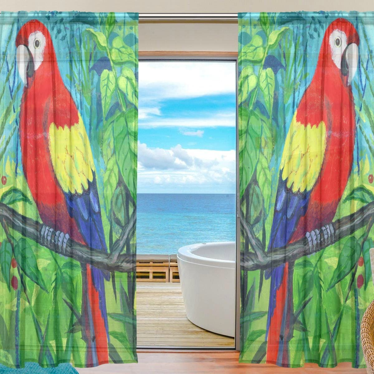 ALAZA Sheer Curtain Bird Parrot Art Painting Voile Tulle Window Curtain for Home Kitchen Bedroom Living Room 55×78 inches 2 panels