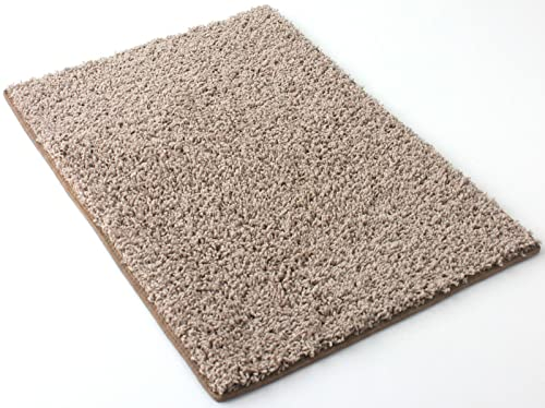 4 x6 Beige Area Rug. Frieze Plush Textured Carpet for Residential or Commercial use. Approximately 1 2 Thick with Binding.