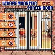 Magnetic Screen Door 72 X 82 Inch For French Door, Full Frame Velcro Wide  Mega