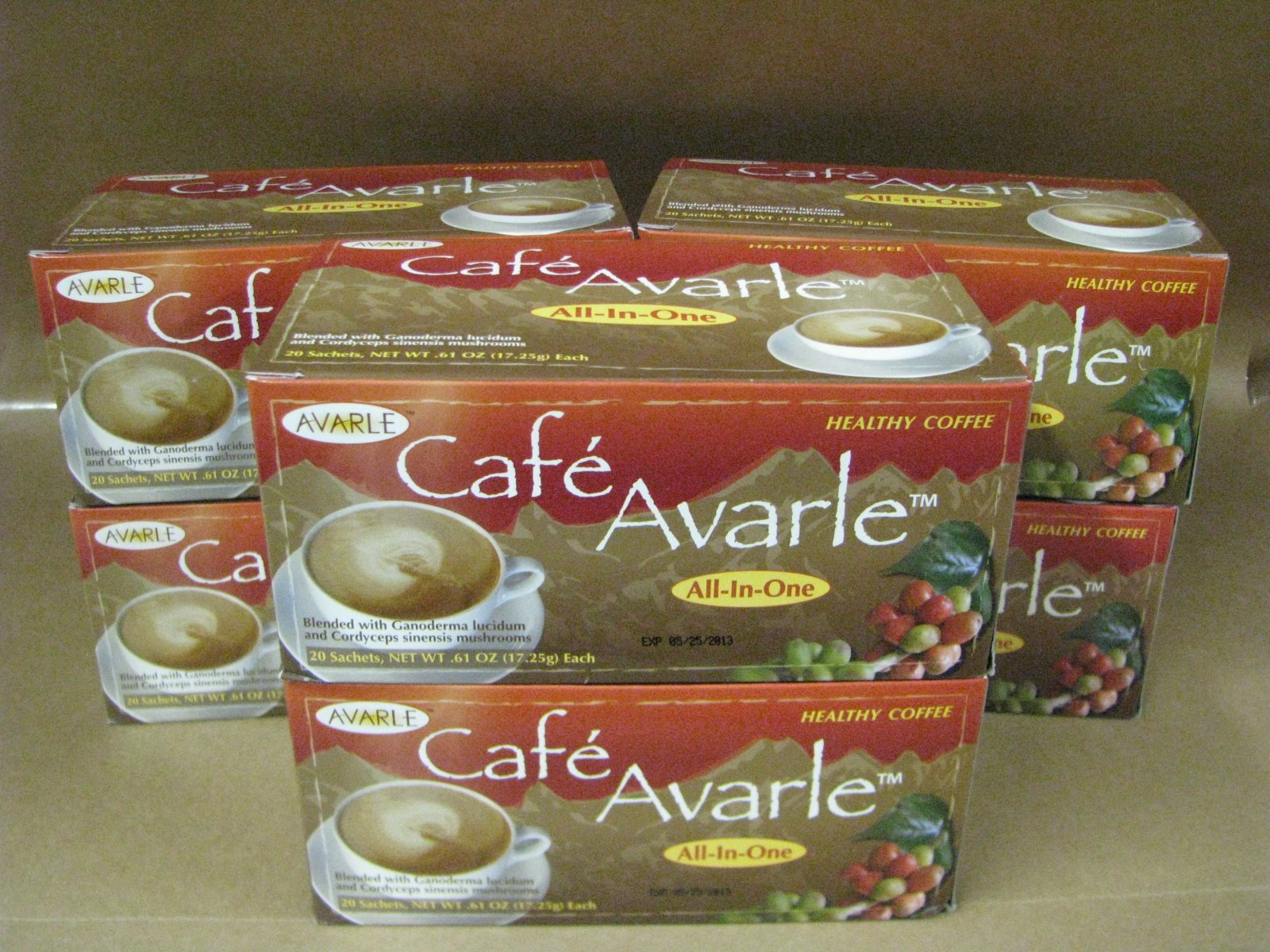 All-in-One Healthy Coffee with Ganoderma & Cordceps. Creamer, Sugar & Xylitol 6 Boxes (20 Pks Ea) by Cafe Avarle