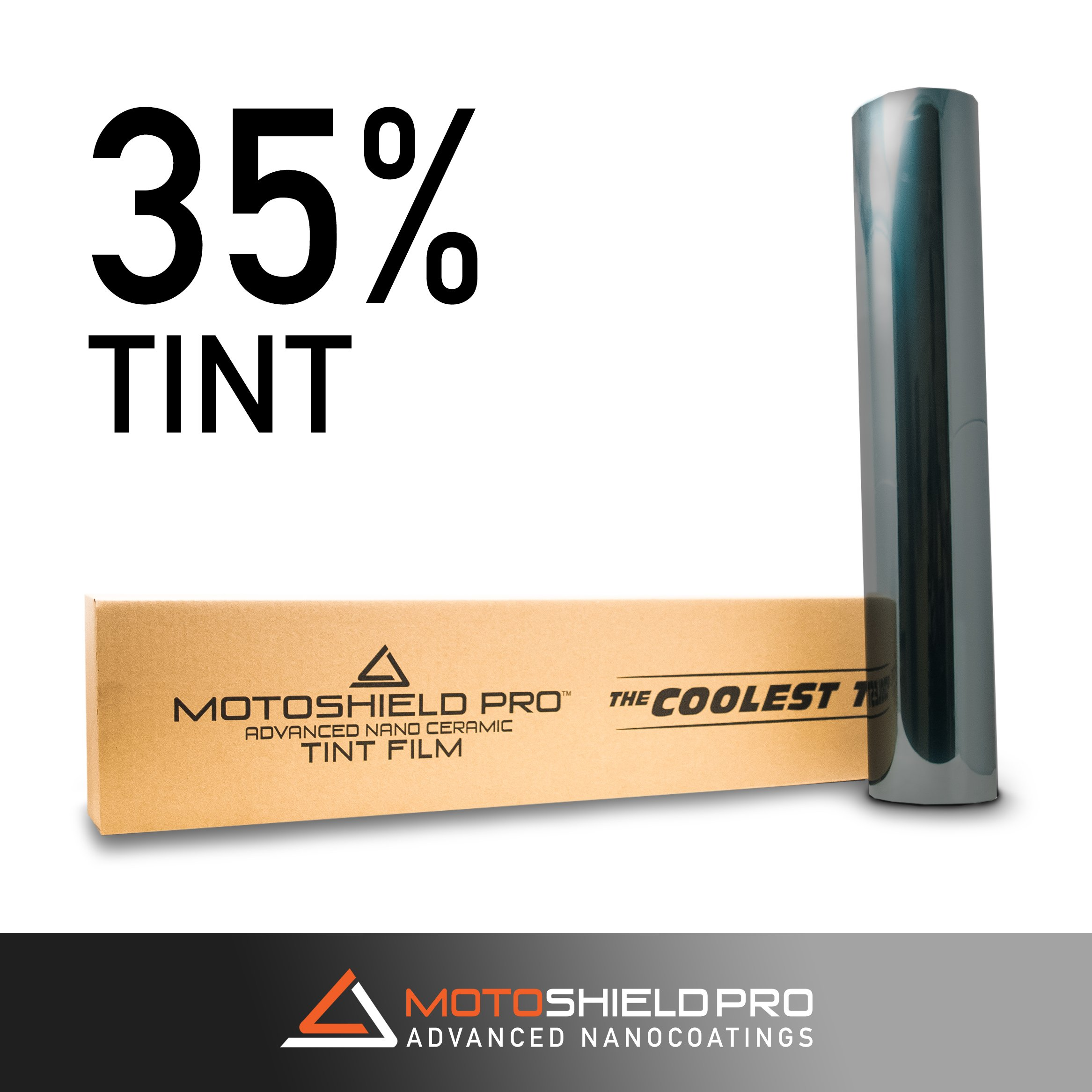 MotoShield Pro Nano Ceramic Tint Film [Blocks Up to 99% of UV/IRR Rays] 20'' x 100' Window Tint Roll - 35%