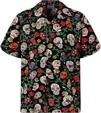 David Carey | Original Camisa Hawaiana | Caballeros | XS - 6XL | Manga Corta | Bolsillo Delantero | Estampado Hawaiano | Día De Muertos Cráneo Del Azúcar | Negro: Amazon.es: Ropa y accesorios