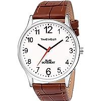 TIMEWEAR White Dial Brown Strap Watch for Men - 233WDTG