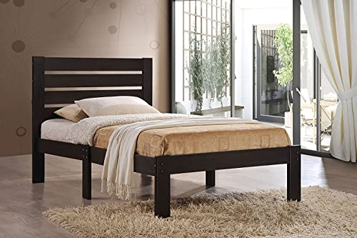 Major-Q Traditional Simple Espresso Finish Wood Frame Queen Bed