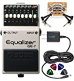 BOSS GE-7 Equalizer Pedal with 7 Band EQ Bundle with Blucoil Slim 9V Power Supply AC Adapter, 2-Pack of Pedal Patch…