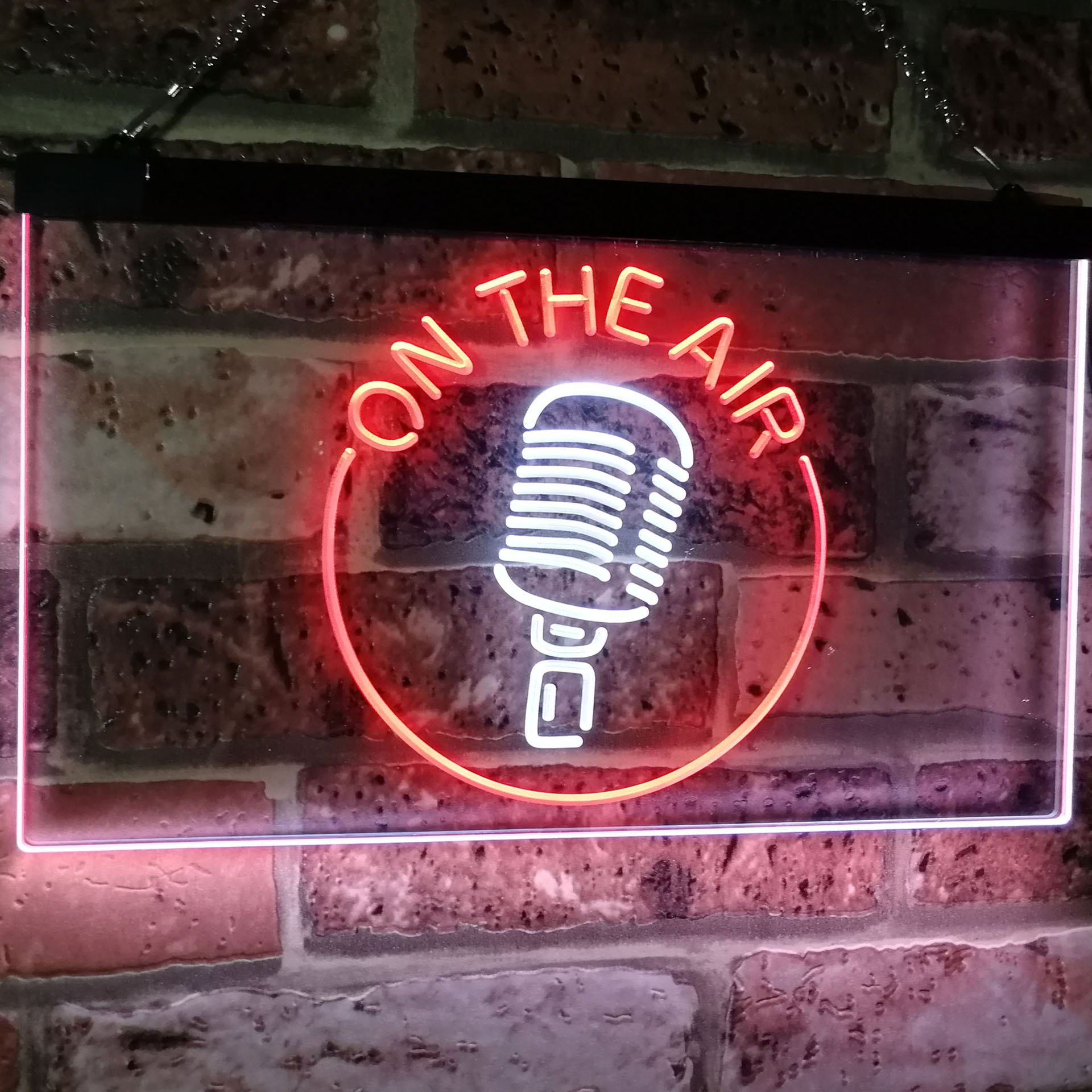 AdvpPro 2C On The Air Microphone Studio Recording Signal Dual Color LED Neon Sign White & Red 12'' x 8.5'' st6s32-m2028-wr by AdvpPro 2C (Image #3)