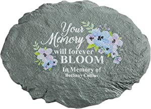 """Let's Make Memories Personalized Sympathy Garden Stone - Memories Bloomed - Condolence & Memorial Gift - Customize with Message -11""""Lx6""""Wx3""""D"""