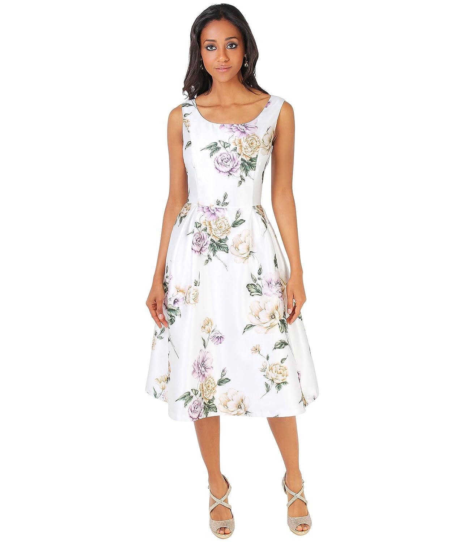 KRISP Damen Florales Vintage Skater Midi Kleid