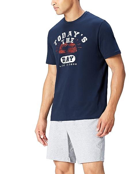 FIND Camiseta de Pijama Estampada para Hombre, Azul (Navy), Large: Amazon.es: Ropa y accesorios