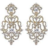 EVER FAITH Austrian Crystal Art Deco Flower Chandelier Dangle Earrings