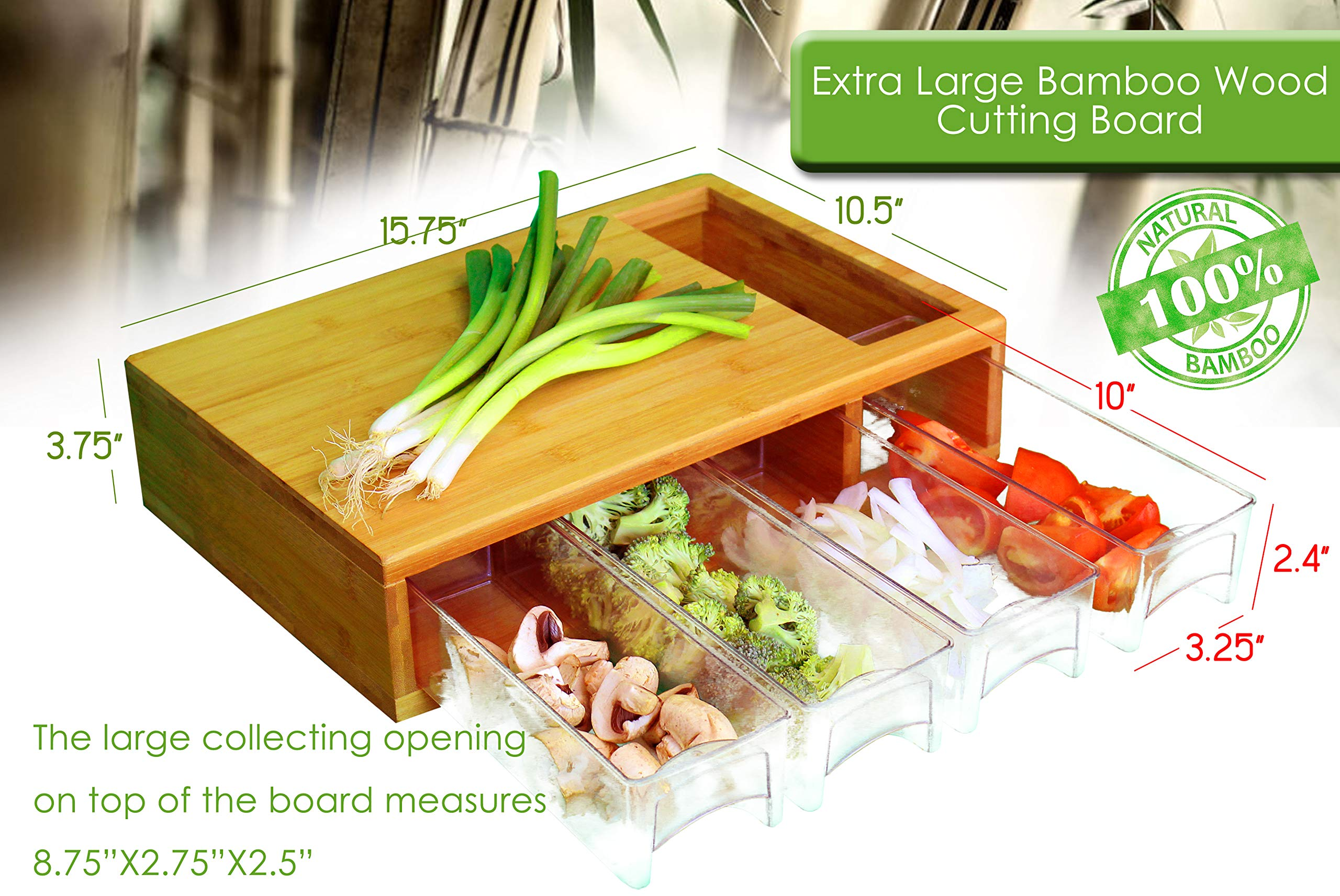 Large Bamboo Cutting Board with Trays/Draws - Wood Butcher Block with 4 Drawers & Opening For Meat, Fruits, Veggies, Bread, Cheese – Naturally Antimicrobial – Make Meal Prep Easy by Simpli Better (Image #5)