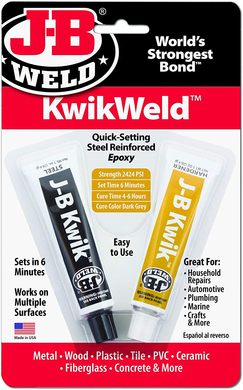 J-B Weld 8276 KwikWeld Quick Setting Steel Reinforced Epoxy - 2 oz, Pack of 2