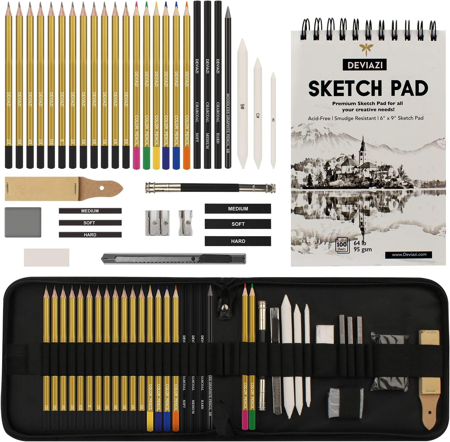 Deviazi (40-Piece Set) Artist Drawing Pencils Sketching Set. Includes Graphite, Charcoal Pencils, 100 Page Drawing Pad, Kneaded Eraser, Blending Stump with Travel case for Kids, Teens and Adults.