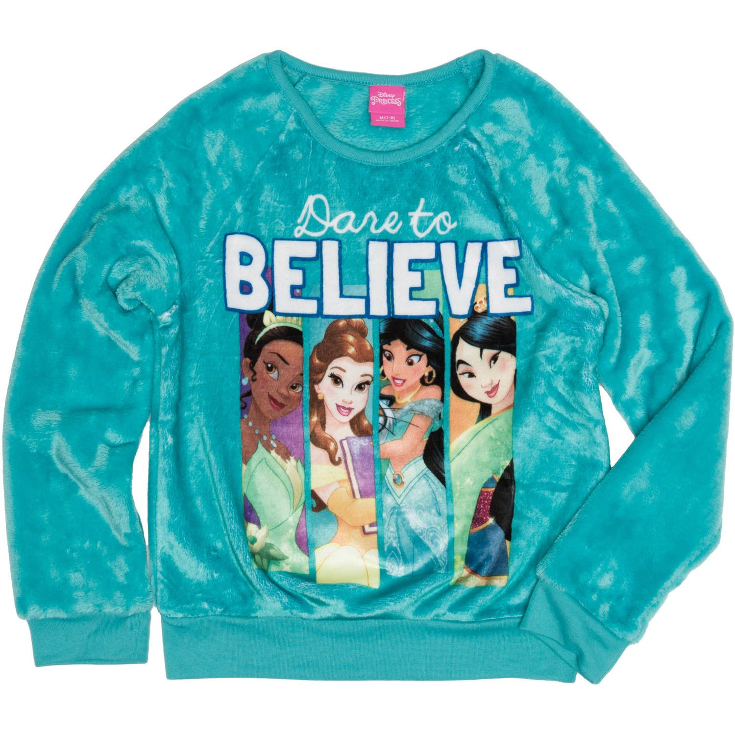 Disney Princess Girls' Dare to Believe Crew Neck Sweatshirt (XL (14-16))