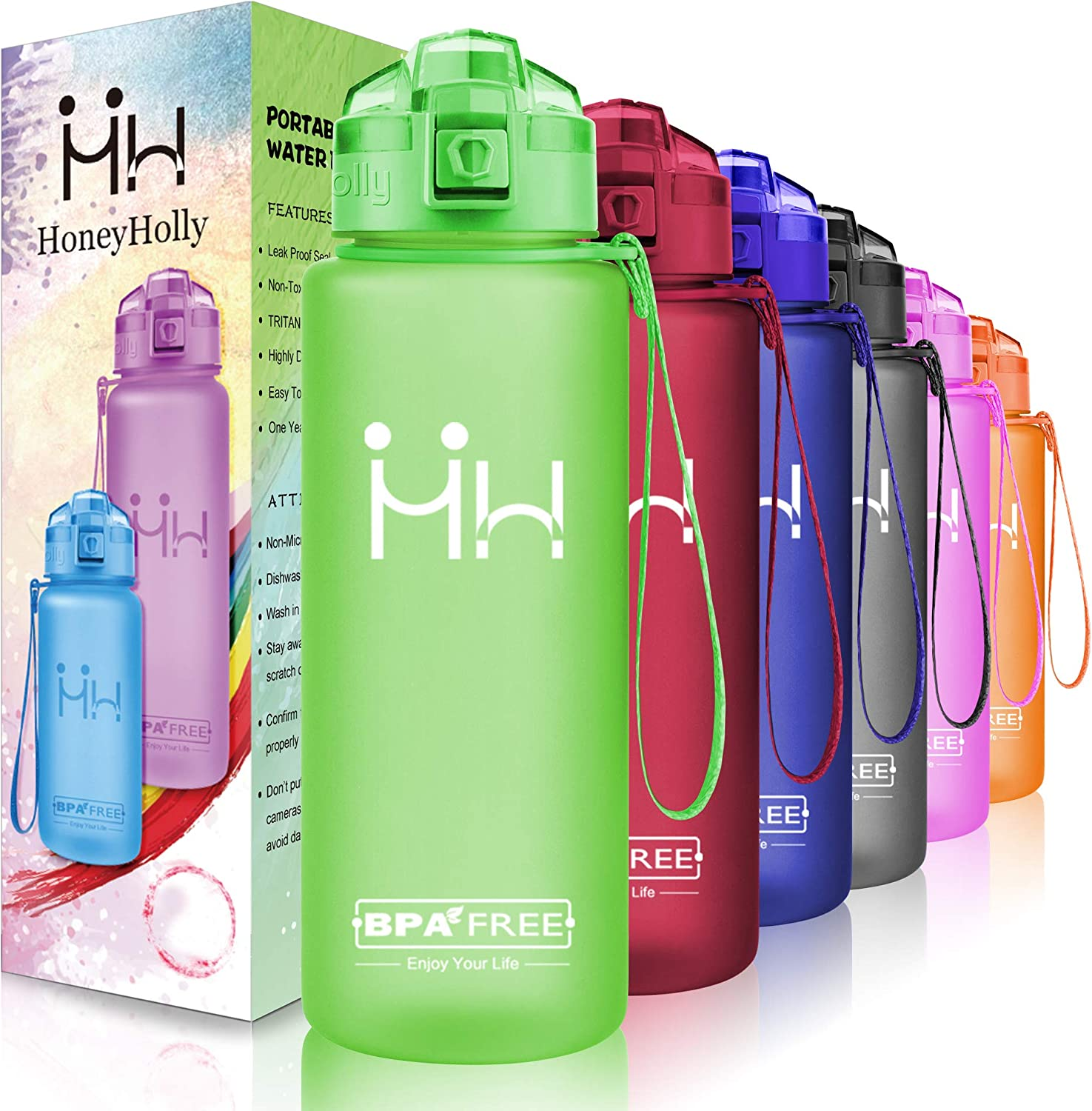 HoneyHolly Portable Sports Water Bottle-Leak Proof Kids Water Bottle Reusable Container,One Click Flip Cap14 17 24 26 32 50Ounce,for Outdoor Camping Running Gym,Non Toxic,BPA-Free Tritan Plastic
