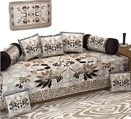 Decoholic Heavy Fabric Floral Design Diwan Bedsheet (Coffee) - Set of 8 Pieces