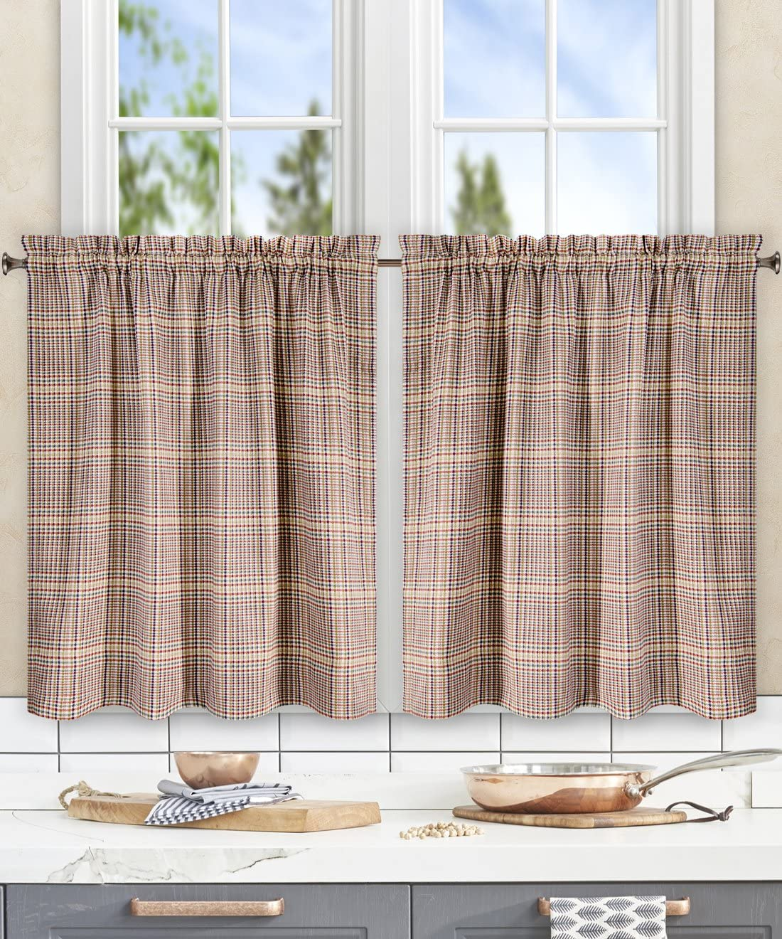 Ellis Curtain Morrison Multi Colored Plaid 100-Percent Cotton Tailored Tier Curtains, 56×36 , Patriot