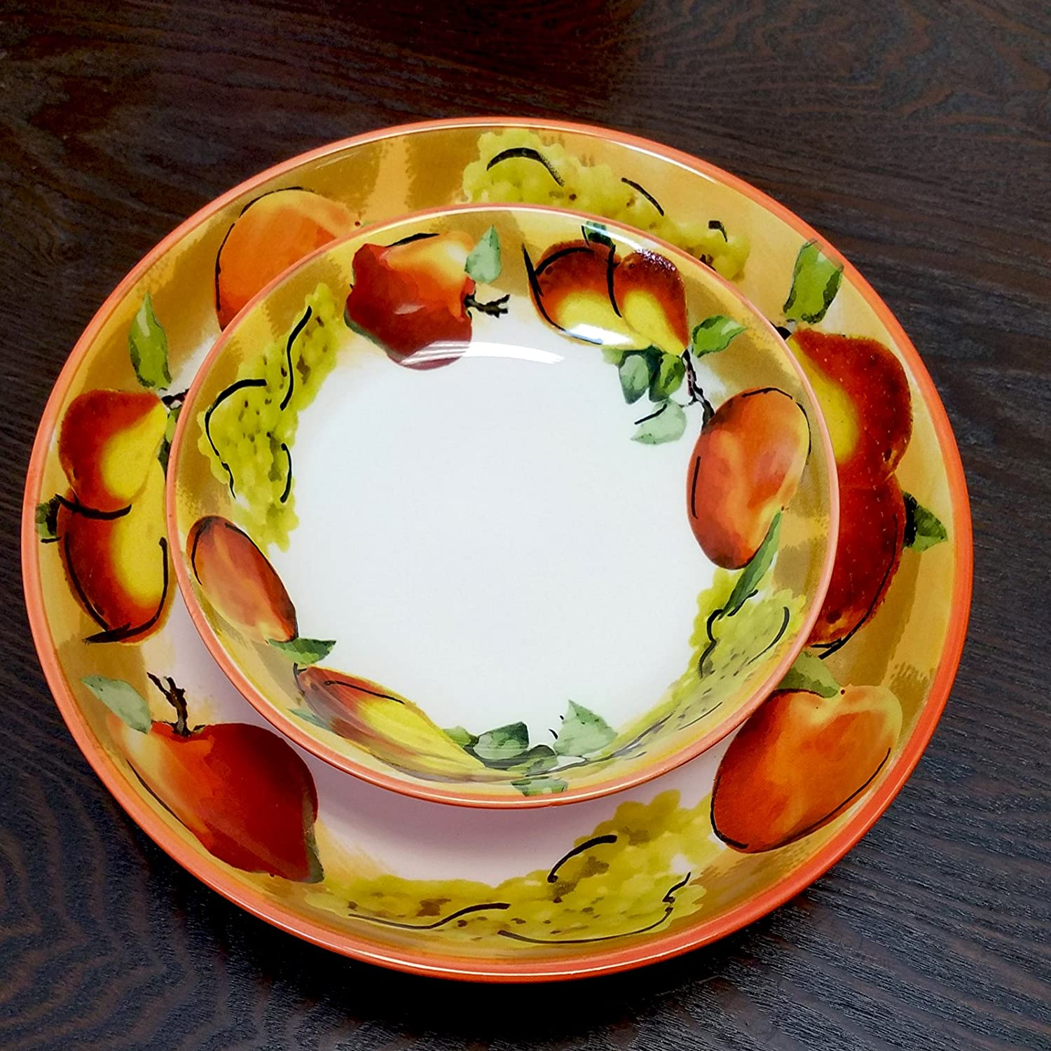 White Elama 930103088M Fruitful Bounty 5 Piece Pasta Serving Bowl Set