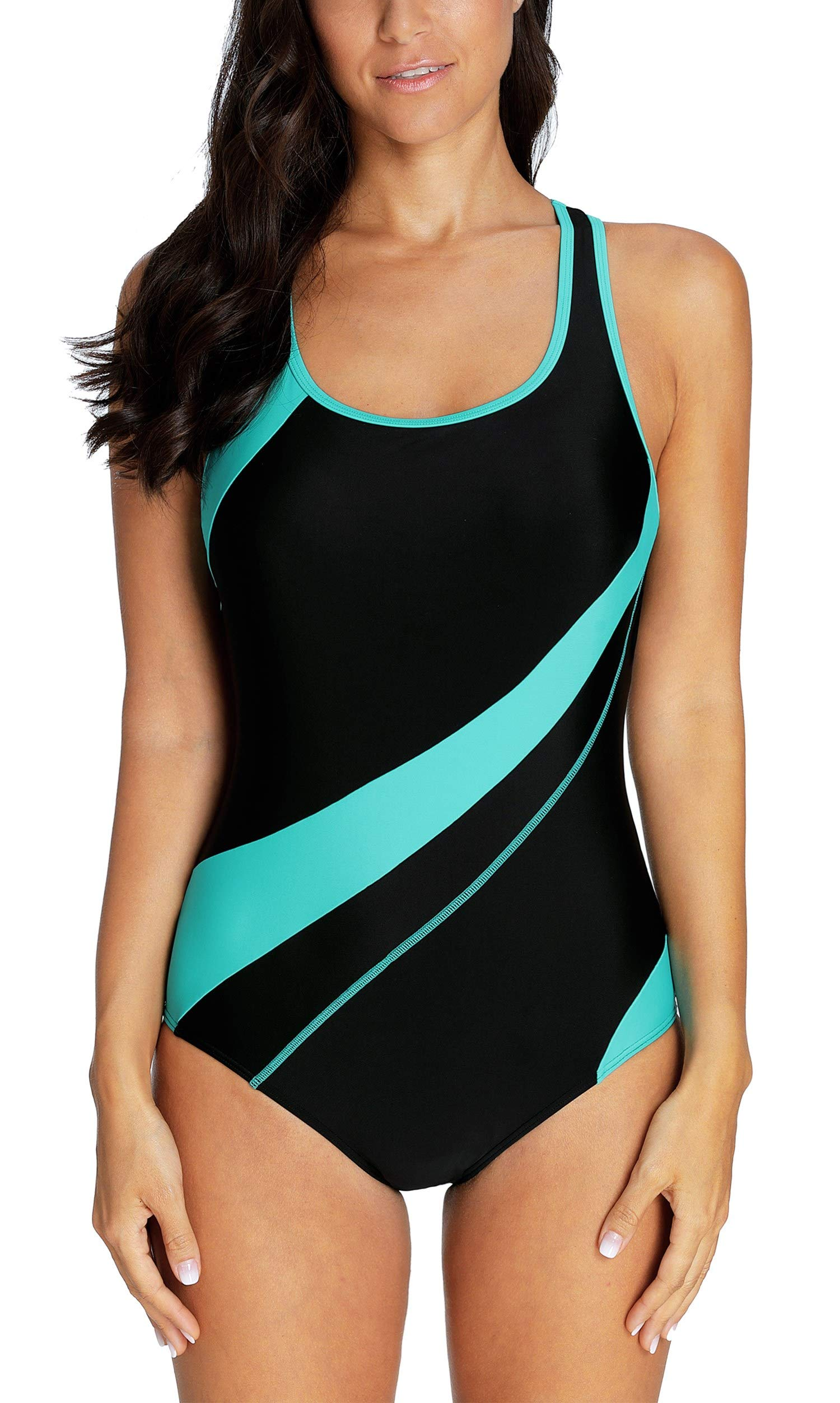 ATTRACO Sports Swimsuit for Women One Piece Athletic Bathing Suit Qqua L by ATTRACO