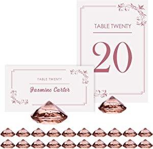ROSE GOLD Diamond Table Number Holder & Place Card Holders [20 Pack] Sturdy Acrylic Table Card Stands for Party & Wedding Table Decorations