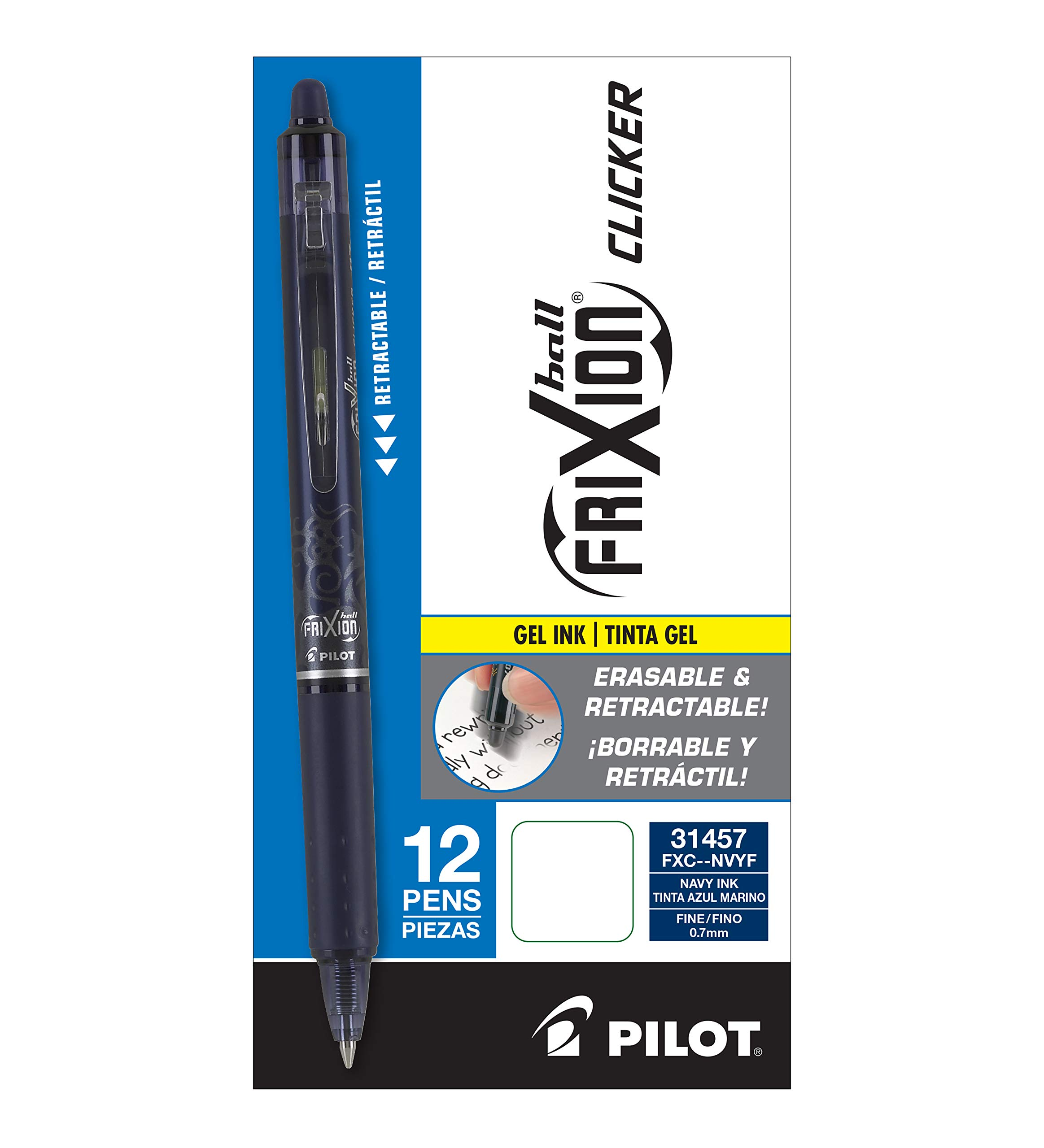 Pilot FriXion Clicker Retractable Erasable Gel Pens Fine Point (.7) Navy Blue Ink Dozen Box; Make Mistakes Disappear, No Need For White Out. Smooth Lines to End of Page, America's #1 Selling Pen Brand by Pilot (Image #3)