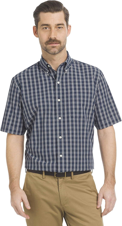 Arrow Men's Big and Tall Hamilton Poplins Short Sleeve Button Down Plaid Shirt: Clothing