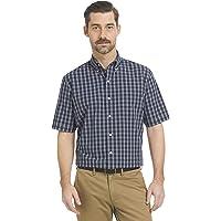 Arrow 1851 Mens Big and Tall Hamilton Poplin Short Sleeve Plaid Button Down Shirt, Navy Blazer 1, XX-Large Big US