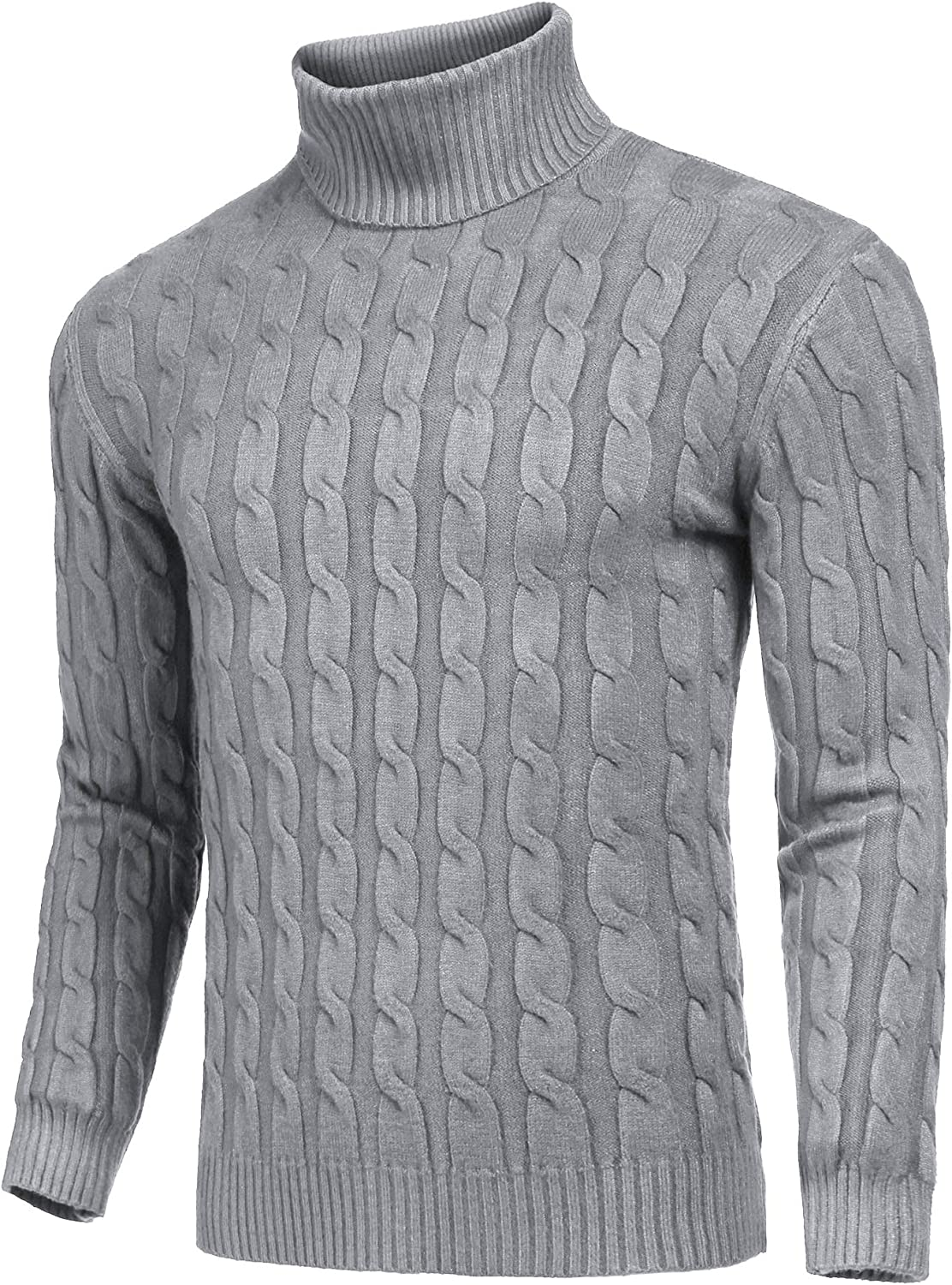 COOFANDY Mens Slim Fit Turtleneck Sweater Casual Twisted Knitted Pullover Sweaters