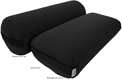 Bean Products Yoga Bolster - 100% Organic Round - Black