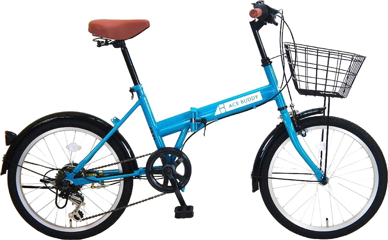 ACE BUDDY 206-4 カゴ付き折りたたみ自転車 20インチ 6段変速 B078GCFTFQ ブルー ブルー