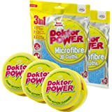 JML® Doktor Power Cleaning Combo - Mutli All Purpose Cleaning Kit: 3 tubs of Multi Purpose Cleaner Paste & Sponge 250g and 2 packets of 3in1 Microfibre 3D Cloths. Powerful and Fast Working Multi-Purpose Doktor Power Cleaning Sollutions for your home and car.