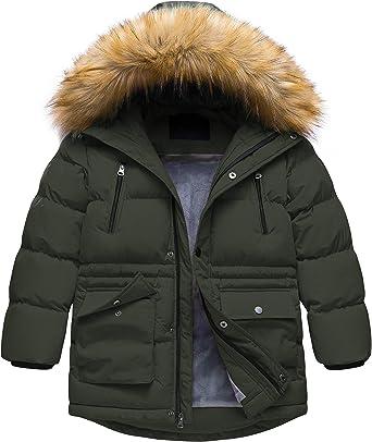 Boys Winter Parka Water Resistant Hooded Puffer Fleece Lined Jacket Coat