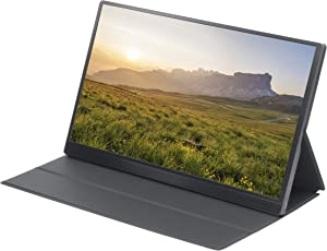 4K Ultra-Thin Portable IPS Monitor 15.6 Inch UHD 3840x2160-60Hz HDR Gaming Screen Display with Dual USB 3.1 Type-C, Mini HDMI, 3.5mm Headphone Port, 2 Built-in Speakers and Smart Case Stand