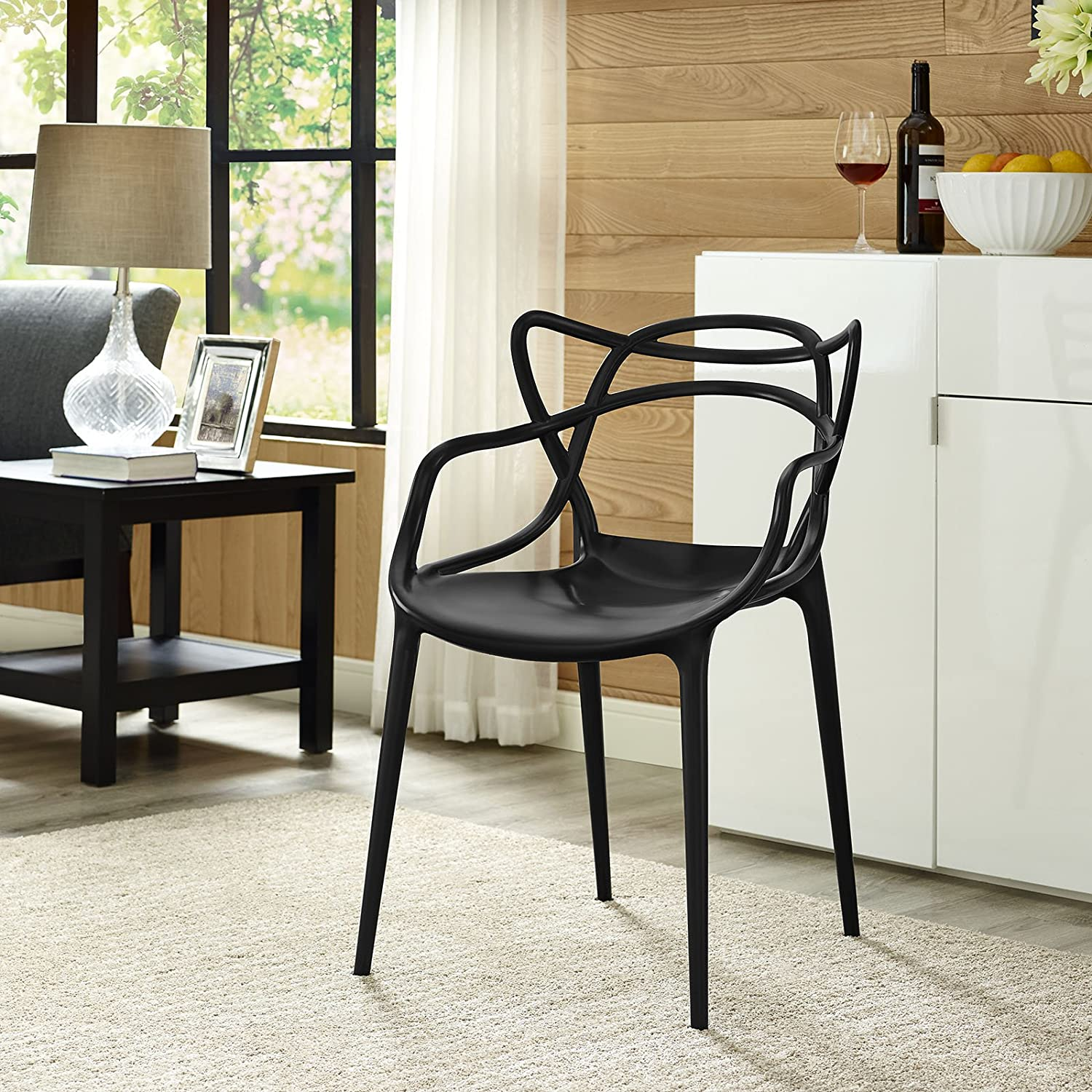 Modway Entangled Modern Molded Plastic Kitchen and Dining Room Arm Chair in Black - Fully Assembled