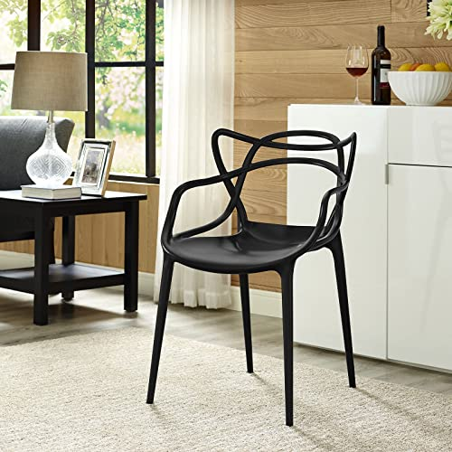 Modway Entangled Modern Molded Plastic Kitchen and Dining Room Arm Chair in Black – Fully Assembled
