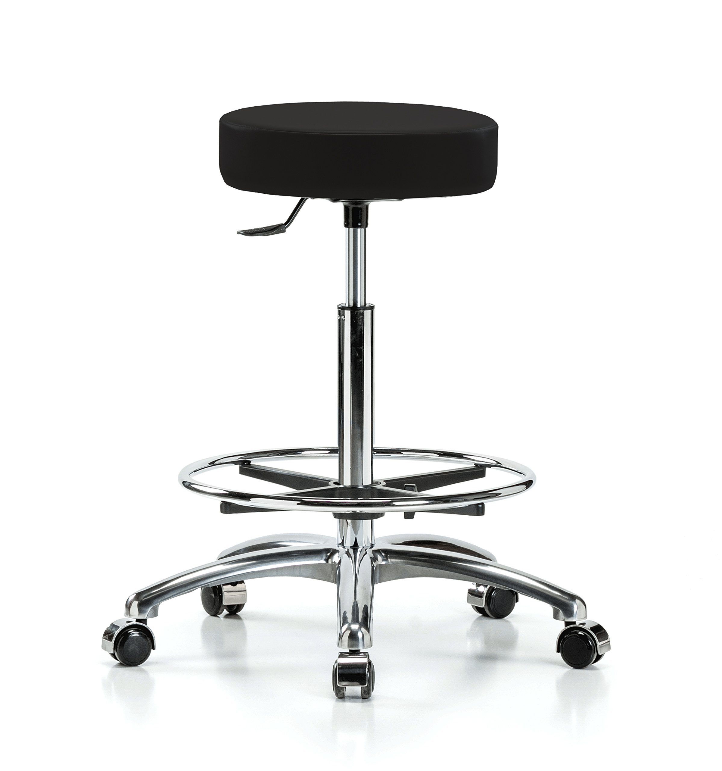 Perch Single Lever Adjustable Rolling Backless Swivel Stool in Chrome with Footring for Office Salon Home Garage or Work Shop 24'' - 34'' (Hard Floor Casters/Black Vinyl)