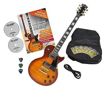 Rocktile Pro L-200HB - Guitarra eléctrica Naranja Honey Burst con accesorios (Guitarra funda, cable, púas, guitarras Escuela con CD y DVD, Guitarra ...