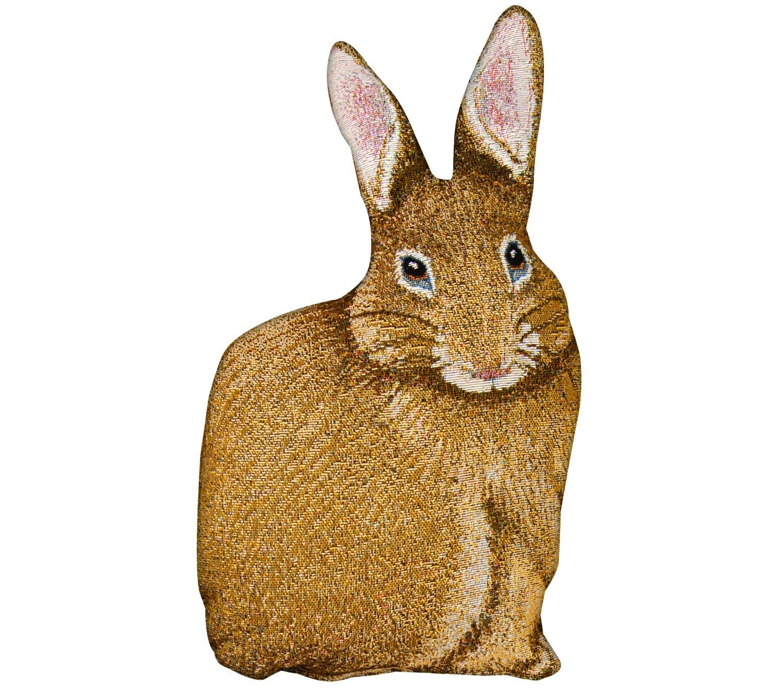 Manual Woodworkers & Weavers Bunny Hop Hare Raising Rabbit Shaped Pillow, 17.5'',