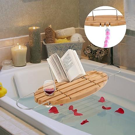 Amazon.com: Poozy Bamboo Caddy Shelf Bathtub Rack Adjustable Book ...