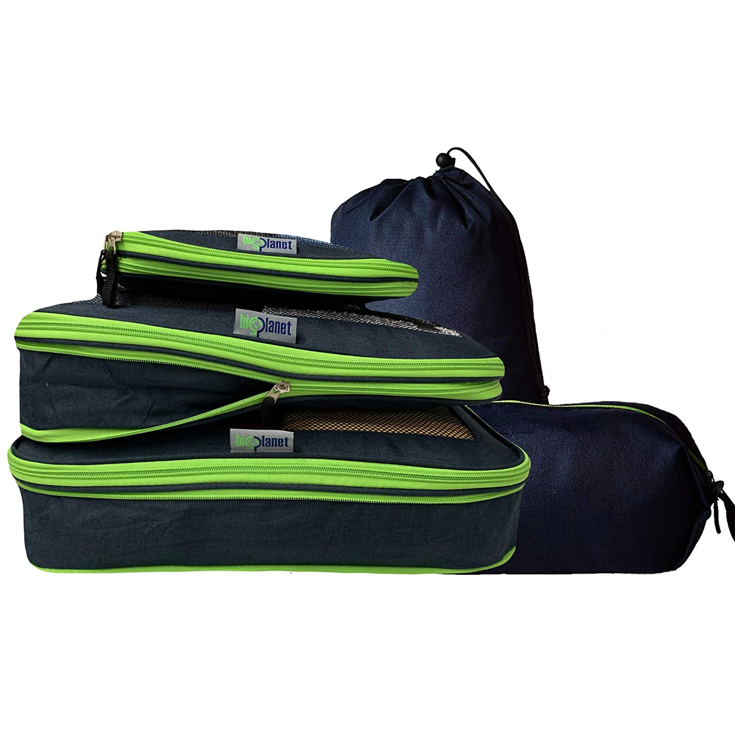 BigPlanet 5 Piece Set - Compression Packing Cubes For Travel, Laundry & Shoe Organizer Bags - Water Resistant Packing Cubes Organize & Compress Luggage Sets, Travel Accessories & Camping Accessories