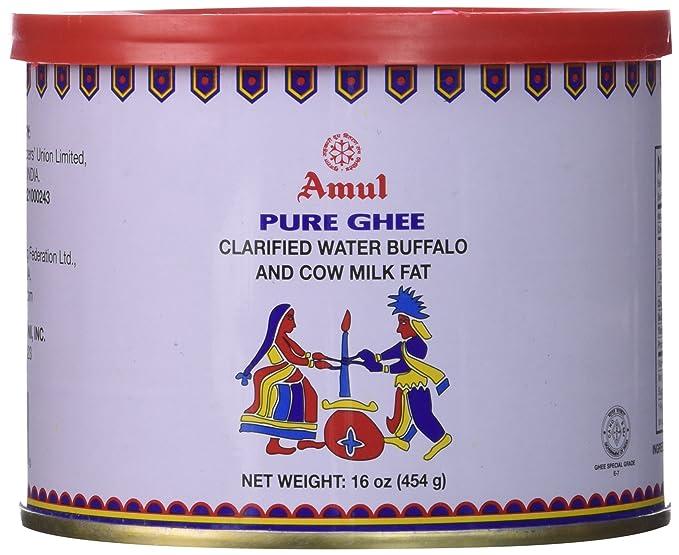 amul Pure Ghee aclarado agua Buffalo y leche de vaca grasa, 16 oz